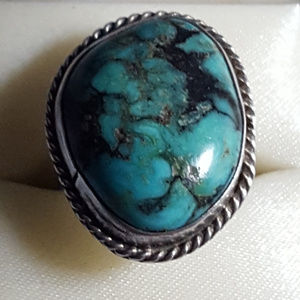 Kingman turquoise and sterling silver SIZE 7 RING